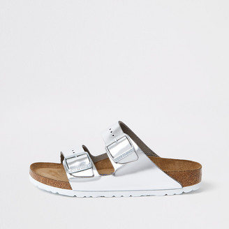River Island Birkenstock silver Arizona sandals