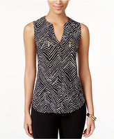 INC International Concepts Printed Zipper-Trim Top, Created For Macy's