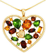 Sis by Simone I Smith Multi-Color Heart-Shaped Pendant Necklace in 18k Gold over Sterling Silver