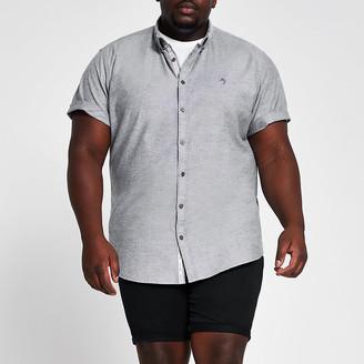 River Island Big and Tall grey short sleeve Oxford shirt