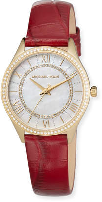 MICHAEL Michael Kors 33mm Mini Lauryn Crystal Watch with Leather Strap, Red
