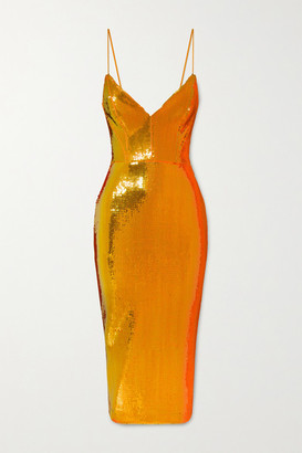 Alex Perry Addilyn Sequined Crepe Midi Dress - Orange