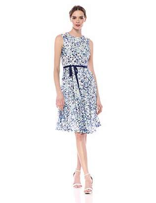 Gabby Skye Women's Floral Printed Belted Lace Fit & Flare Dress