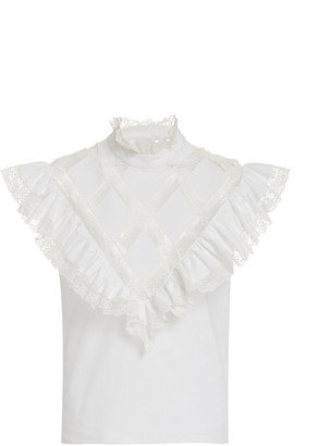 Philosophy di Lorenzo Serafini Lace-Trimmed Ruffled Cotton Top