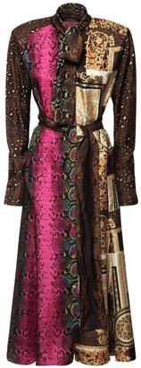 Versace Patchwork Print Silk Twill Dress W/ Belt