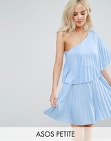 Asos One Shoulder Pleat Mini Dress