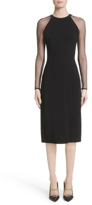 Jason Wu Collection Jason Wu Swiss Dot Mesh Sleeve Sheath Dress