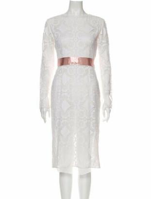 Dolce & Gabbana Lace Pattern Midi Length Dress White