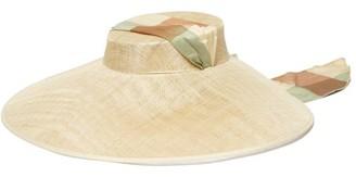 BEIGE Eliurpi - Checked Bandana-tie Straw Hat - Womens