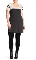Hip V-Neck Colorblock Tee Dress (Plus Size)