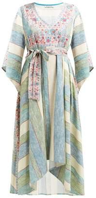D'Ascoli Bedouin Printed Cotton Kaftan - Womens - Blue Stripe