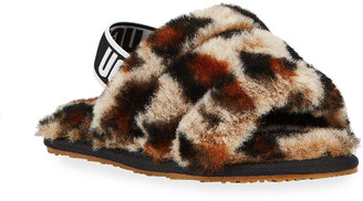 UGG Girl's Fluff Yeah Leopard Shearling Slides, Baby/Toddlers