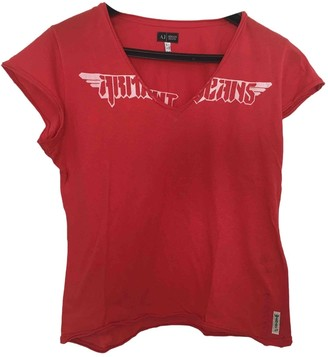 Armani Jeans Red Cotton Top for Women