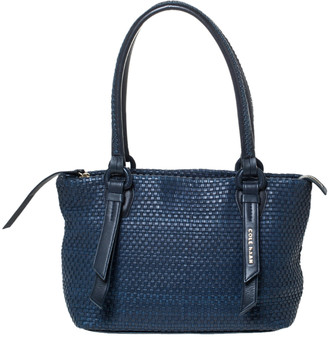 Cole Haan Navy Blue Woven Leather Zip Tote