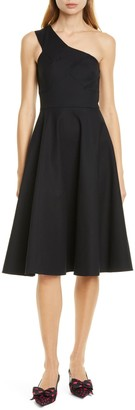 Kate Spade One-Shoulder Stretch Cotton Fit & Flare Dress