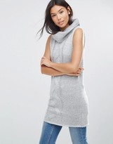 QED London Longline Roll Neck Sleeveless Sweater