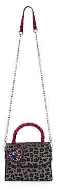 Bari Lynn Women's Leopard Print Faux Fur Top Handle Bag