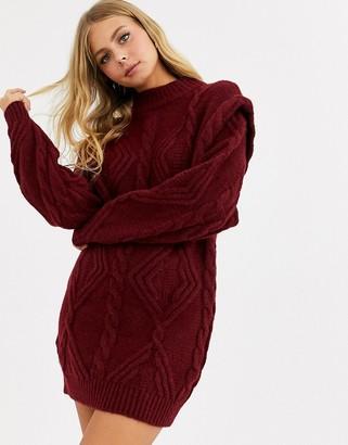 Asos Design DESIGN cable jumper dress with shoulder detail