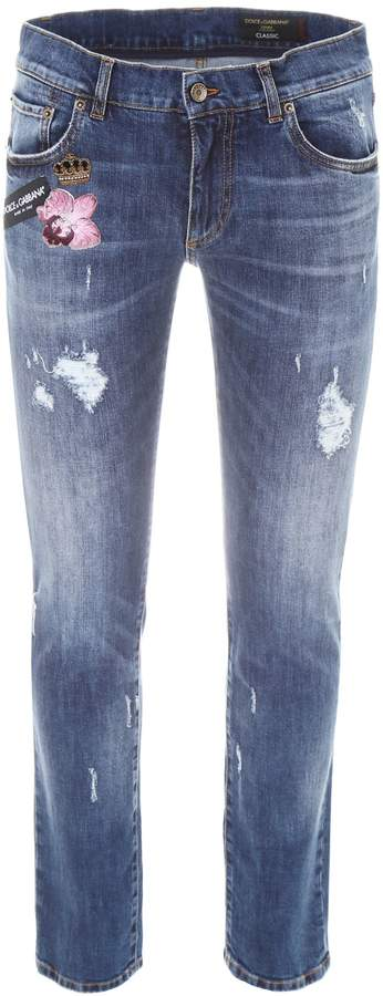 Dolce & Gabbana Stretch Jeans With Patches