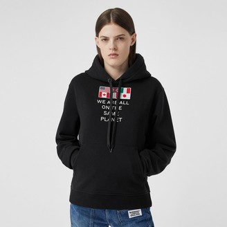 Burberry Flag Applique and Print Cotton Oversized Hoodie