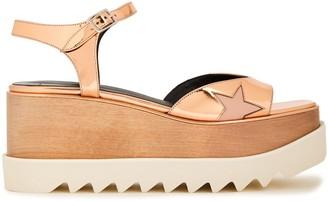 Stella McCartney Indium Elyse Star Cutout Faux Mirrored-leather Platform Sandals