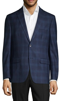 Tommy Hilfiger Stretch-Fit Plaid Wool-Blend Sportcoat
