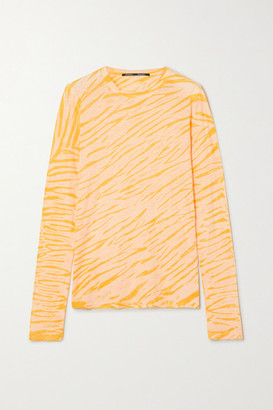 Proenza Schouler Tiger-print Tie-dyed Cotton-jersey Top - Peach