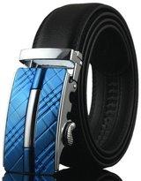Sarah Dean Newyork Men's Leather Belt With Automatic Buckle Ratchet Belt Black