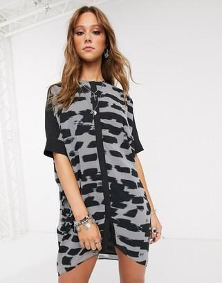 Religion form oversized shirt dress-Multi
