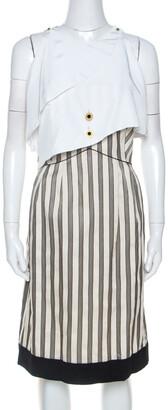 Fendi Cream Striped Silk Blend Cape Detail Dress M