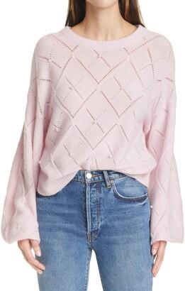 Autumn Cashmere Pointelle Balloon Sleeve Cashmere Sweater
