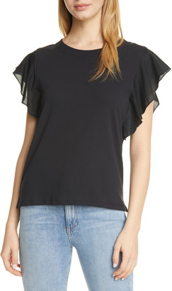 ATM Anthony Thomas Melillo Mixed Media Fluted Sleeve Tee
