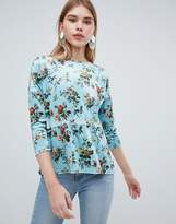 Oasis Floral Print Velvet Sweater