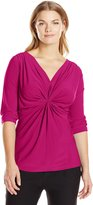 NY Collection Women's Plus-Size Solid 3/4 Sleeve Knit Front Pullover