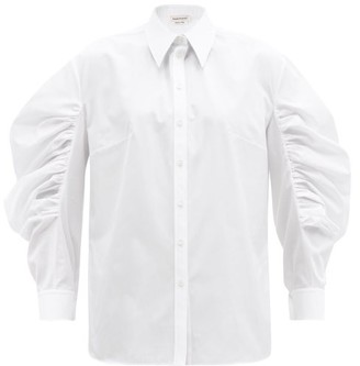 Alexander McQueen Balloon-sleeve Cotton-poplin Shirt - White