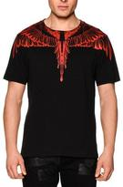Marcelo Burlon County of Milan Feather-Print Short-Sleeve Tee, Black/Red