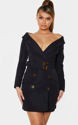Bardot Loccoapp Black Tortoise Button Belted Blazer Dress