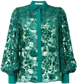 Alice + Olivia Sheer Floral Velvet Shirt