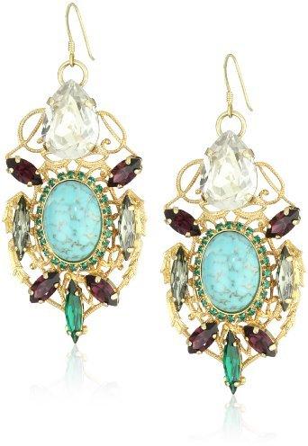 Anton Heunis Anthony and Cleopatra Filigree Bug Crystal Drop Earrings