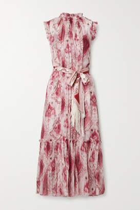 Zimmermann Wavelength Belted Printed Ruffled Silk-crepon Midi Dress - Magenta