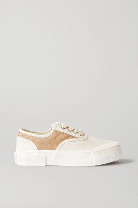 Good News + Net Sustain Softball Organic Cotton-canvas And Jute Sneakers - Off-white