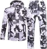 Zity Rainwear For Men,Camouflage Dual Cap Peak Waterproof Hooded Rain Jacket 2XL