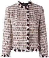 Giambattista Valli ruffle-trim tweed jacket - women - Cotton/Linen/Flax/Acrylic/Virgin Wool - 42