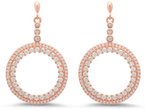 Cubic Zirconia & Rose Gold Pavé Hoop Drop Earrings