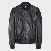 Paul Smith Men's Navy Leather Bomber Jacket