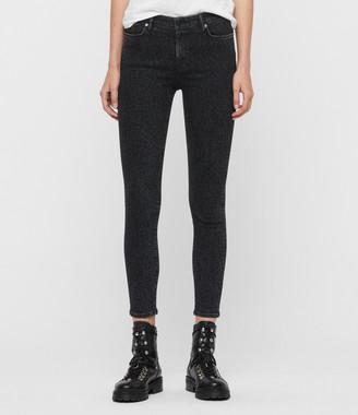 AllSaints Grace Leopard Cropped Mid-Rise Jeans, Washed Black