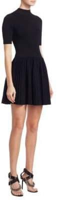 Alexander Wang Mockneck Pleated Mini Dress
