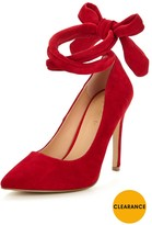Very Zoe Real Suede Soft Wrapped Heeled Shoe - Red