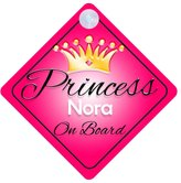 mybabyonboard UK Princess Nora On Board Personalised Girl Car Sign Baby / Child Gift 001