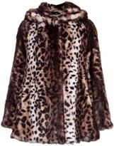 Marble Faux Fur Leopard Hooded Coat